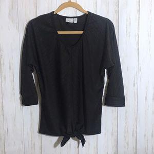 Kim Rogers Black Tie-Front Blouse